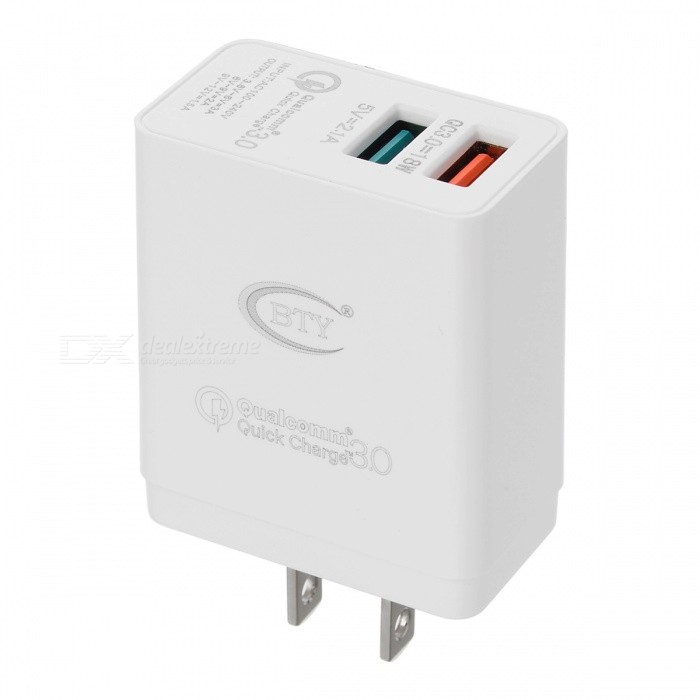 BTY-M522Q QC3.0 Fast Charge Charger w/ Dual USB Port - White (US Plug)
