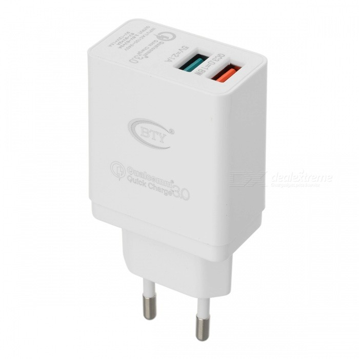 BTY-M522Q QC3.0 Fast Charge Charger w/ Dual USB Port - White (EU Plug)