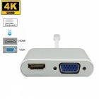 Cwxuan Type-C USB 3.1 to 4Kx2K HDMI / VGA Female Converter Adapter