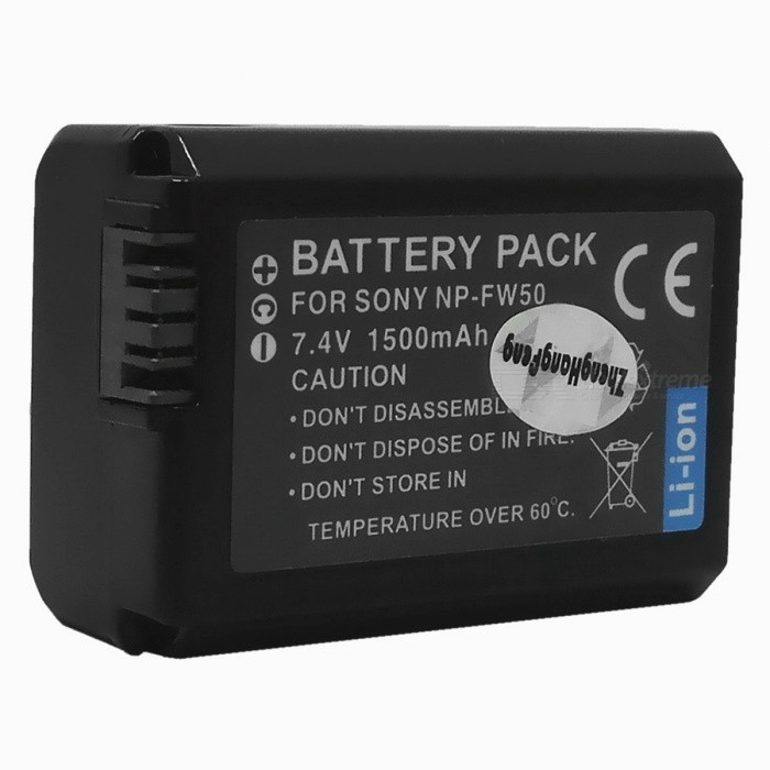 Replacement Compatible 7.2V 1500mAh Battery Pack for Sony NP-FW50 replacement compatible 7 2v 3700mah battery pack for sony np fv100