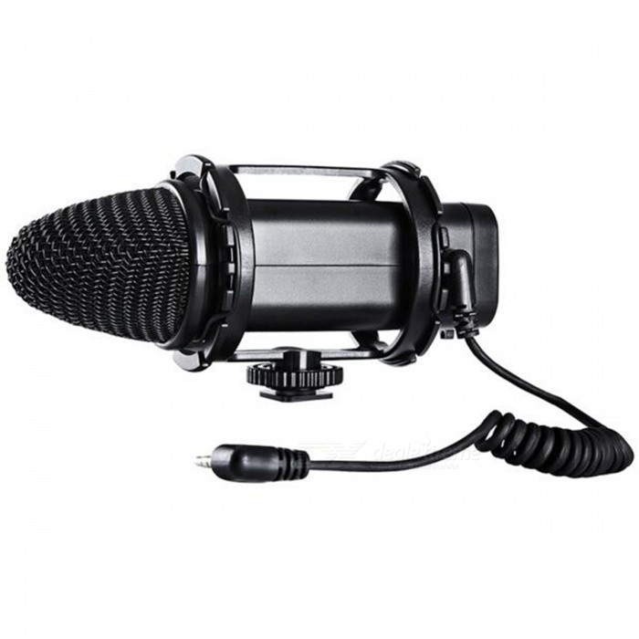 BOYA BY-V02 Sterwo Microphone with Shock Mount for DSLR CameraOther Accessories<br>Form  ColorBlackModelBY-V02MaterialRugged reinforced ABSQuantity1 pieceCompatible BrandCanon, Nikon, SonyCertificationCE ROHSPacking List1 x BY-V02 Microphone with Shock Mount1 x Dead Kitten Windscreen1 x Portable Bag1 x Spare Rubber Bands1 x User Manual in English<br>