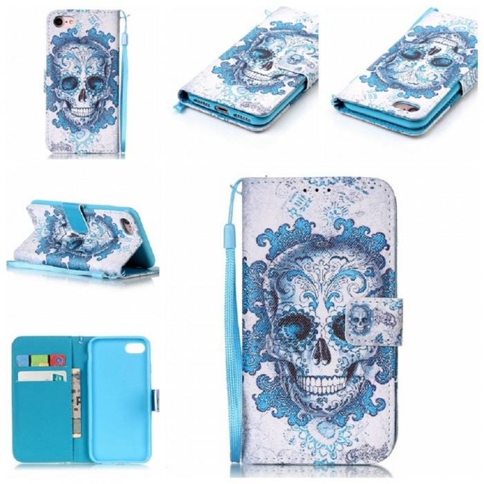 Coloured Drawing Flip-Open PU Leather Case for IPHONE 7, 8 - Sky BlueLeather Cases<br>Form  ColorSky BlueModelN/AQuantity1 pieceMaterialTPU + Imitation LeatherCompatible ModelsiPhone 7,IPHONE 8StyleBack CasesDesignMixed Color,With Stand,Card Slot,With StrapAuto Wake-up / SleepNoPacking List1 x Case<br>