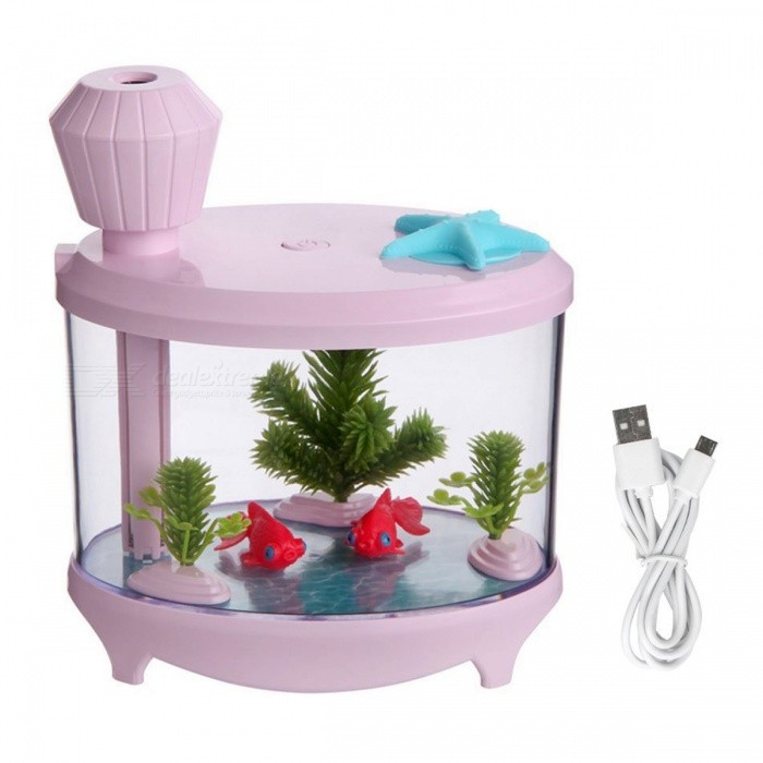 460ml Ultrasonic Cool Mist Humidifier with Night Light for Home - PinkAir Humidifiers<br>Form  ColorPinkModelFH-PMaterialABS + Silica gel + Electron sourceQuantity1 DX.PCM.Model.AttributeModel.UnitShade Of ColorPinkMode SettingButton pressingHumidification TypeUltrasonic,Cold FogCapacity460mlContinuous Humidification time12HSuited SpaceBedroom, living room, office, warehouse, etc.Power SupplyOthers,5VPower AdapterOthers,Micro USBPower1.5-2 DX.PCM.Model.AttributeModel.UnitPacking List1 x Fishtank Humidifier1 x USB Cable1 x Sponge Wick1 x Manual<br>