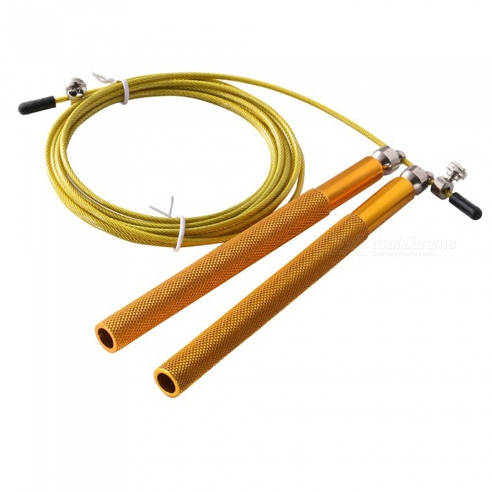 Professional Aluminum High Speed Bearing Skipping Rope - GoldenForm  ColorGoldenModelLTK01Quantity1 setMaterialABS, AluminumOther FeaturesRope length: 300cm handle: 18cmCertificationCEPacking List1 x Skipping Rope<br>