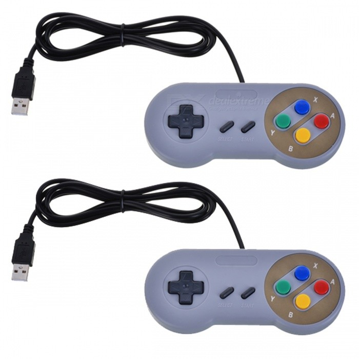 2Pcs/Lot Game Controller for Super SNES USB Classic GamepadOther Consoles Accessories<br>Form  ColorWhiteQuantity2 piecesMaterialPlasticShade Of ColorWhitePacking List2 x Replacement Controllers<br>