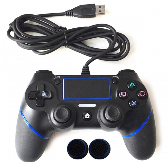 PS4 Controller Wired Gamepad for Playstation Dualshock 4 - BlueControllers<br>Form  ColorBlueQuantity1 DX.PCM.Model.AttributeModel.UnitMaterialPlasticShade Of ColorBlueCompatible ModelsPS4ConnectionWiredBluetooth VersionNoBattery Measured Capacity N/A DX.PCM.Model.AttributeModel.UnitOperating Range180 DX.PCM.Model.AttributeModel.UnitCable Length180 DX.PCM.Model.AttributeModel.UnitPacking List1 x Wired gamepad for PS42 x Silicone caps for ps4<br>