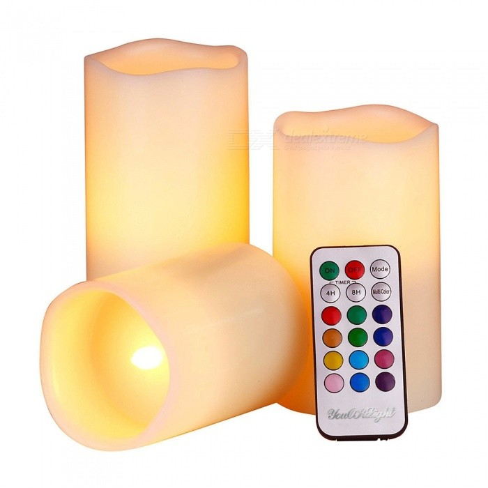 YouOKLight 12-Color LED Smokeless Flickering Electronic Candles LightLED Nightlights<br>Form  ColorMilkyModelYK2271MaterialABSQuantity1 DX.PCM.Model.AttributeModel.UnitPower1WRated VoltageOthers,DC 5 DX.PCM.Model.AttributeModel.UnitColor BINMulti-colorEmitter TypeLEDTotal Emitters1DimmableYesBeam Angle360 DX.PCM.Model.AttributeModel.UnitInstallation TypeOthersPacking List3 x LED Candle Lights1 x Remote Control<br>