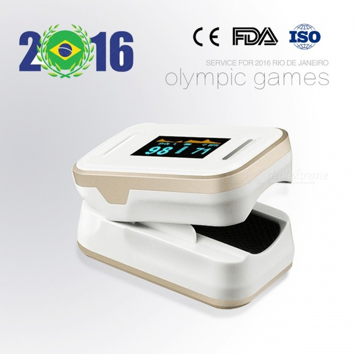 Pulse Fingertip Oximeter OLED Heart Rate Monitor - GoldenHeart Rate Monitor<br>Form  ColorGolden + WhiteModelYK-81CShade Of ColorGoldMaterialABSQuantity1 setDisplayOLED two color display,waveform displayTarget PositionFingerBattery Number2Power SupplyAAA,Others,Supplyvoltage:2.6~3.6VBattery included or notNoCertificationCEOther FeaturesScreen resolution: 128x64; SPo2 measuring range: 70%~99%; PR measuring range: 30BPM-240BPM; Power consumption: Below 30mAPacking List1 x Fingertip Oximeter (without battery)1 x Lanyard1 x Case1 x English user manual<br>