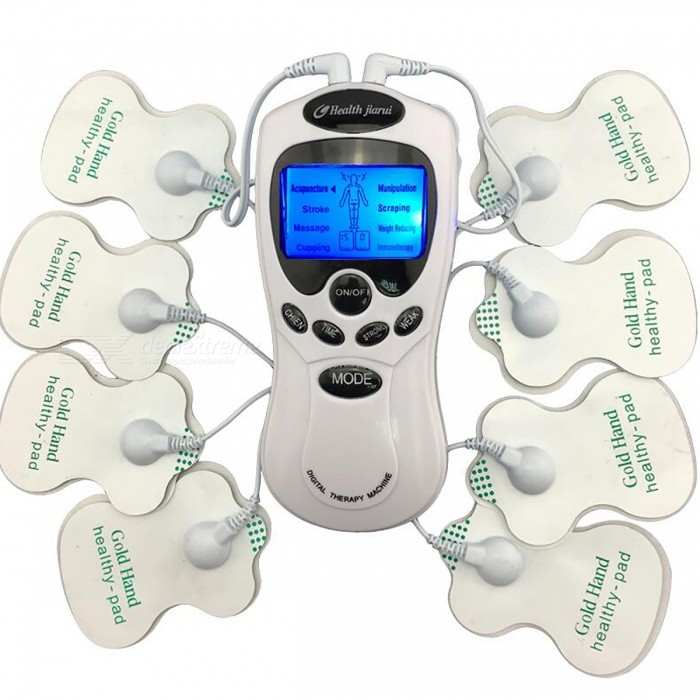 Digital Meridian Therapy Massager Machine with Electrode PadsRelax and Massagers<br>Form  ColorWhite + BlackModelN/AMaterialABSQuantity1 DX.PCM.Model.AttributeModel.UnitShade Of ColorWhiteMassager PartBodyPrinciple of Massage-Control Mode-Number of Massage Heads1 DX.PCM.Model.AttributeModel.UnitThermotherapy FunctionYesTiming FunctionYesPower SupplyOthers,-Power AdapterOthers,-Power- DX.PCM.Model.AttributeModel.UnitPacking List1 x Digital Therapy Machine device8 x Electrode pads (4 pairs)2 x 4-Way electrode wires1 x USB charging cable1 x English user manual<br>