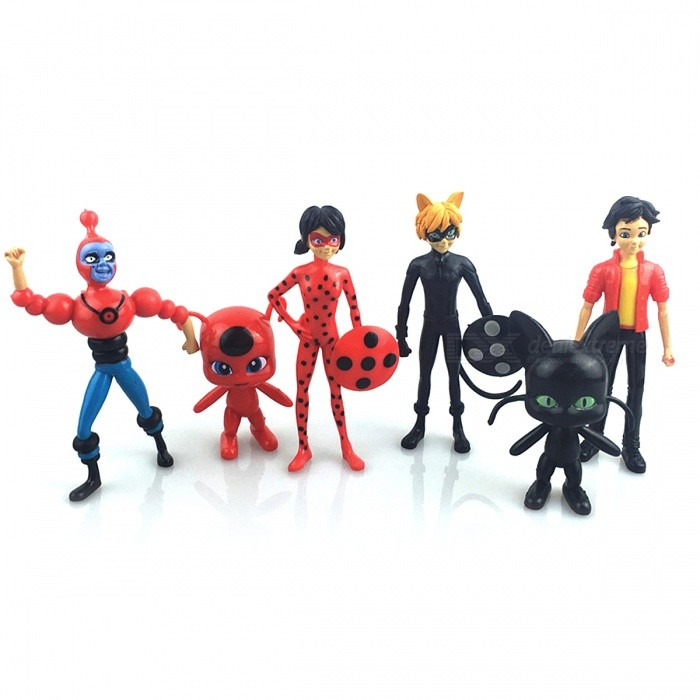 6Pcs Miraculous Ladybug PVC Lady Bug Figures ToysOther Toys<br>Form  ColorBlack + Red + Multi-ColoredModelN/AMaterialPVCQuantity1 setSuitable Age 3-4 years,5-7 yearsPacking List6 x Miraculous Ladybug Toys<br>