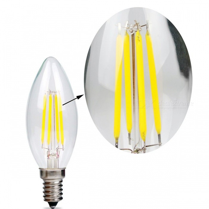 ZHAOYAO E14 4W COB LED Glass Lamp Bulb - White Light