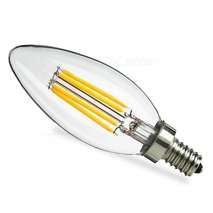 ZHAOYAO E14 4W Dimmable COB LED Glass Lamp Bulb - Warm White LightE14<br>Color BINWarm WhiteModelC35-4W-WWMaterialGlassForm  ColorWhiteQuantity1 DX.PCM.Model.AttributeModel.UnitPower4WRated VoltageAC 220-240 DX.PCM.Model.AttributeModel.UnitConnector TypeE14Chip TypeCOBEmitter TypeCOBTotal Emitters4Actual Lumens100-400 DX.PCM.Model.AttributeModel.UnitColor Temperature12000K,Others,2800-3500KDimmableYesBeam Angle360 DX.PCM.Model.AttributeModel.UnitPacking List1 x LED Bulb<br>