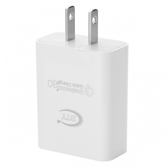 BTY M521A QC3.0 Fast American Standard Charger - White (US Plug)AC Chargers<br>Form  ColorWhiteModelM521AMaterialABSQuantity1 DX.PCM.Model.AttributeModel.UnitCompatible ModelsAndroid phoneInput VoltageAC 100~240 DX.PCM.Model.AttributeModel.UnitOutput CurrentSingle port output: 5V 3.0A, 9V 2.0A, 12V 1.5 DX.PCM.Model.AttributeModel.UnitOutput Power18 DX.PCM.Model.AttributeModel.UnitOutput VoltageDC 5V, 9V, 12 DX.PCM.Model.AttributeModel.UnitPower AdapterUS PlugQuick ChargeYESLED IndicatorNoCertificationCE ROHSPacking List1 x Charger<br>