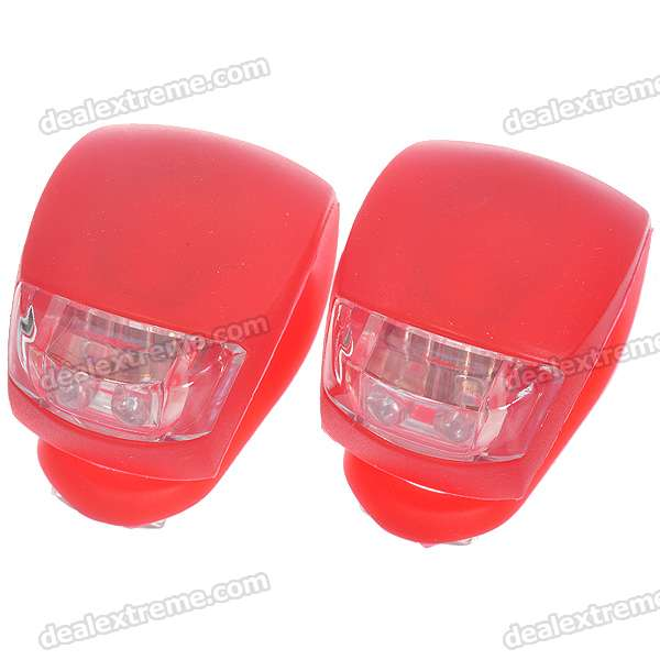 2-LED 3-Mode Fog Bicycle Light 2*CR2032 - Red (2PCS)