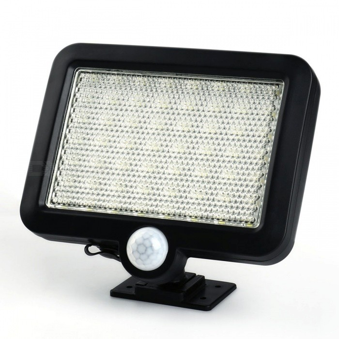 56-LED Solar Powered IR Sensor Wall Lamp - BlackSolar Lamps<br>Form  ColorBlackMaterialABSQuantity1 setEmitter TypeLEDPower1.5 WWorking Voltage   3.7 VBattery Capacity1000 mAhLumens180 lumensWorking Time6-10 hourPacking List1 x Solar Powered Outdoor Light<br>