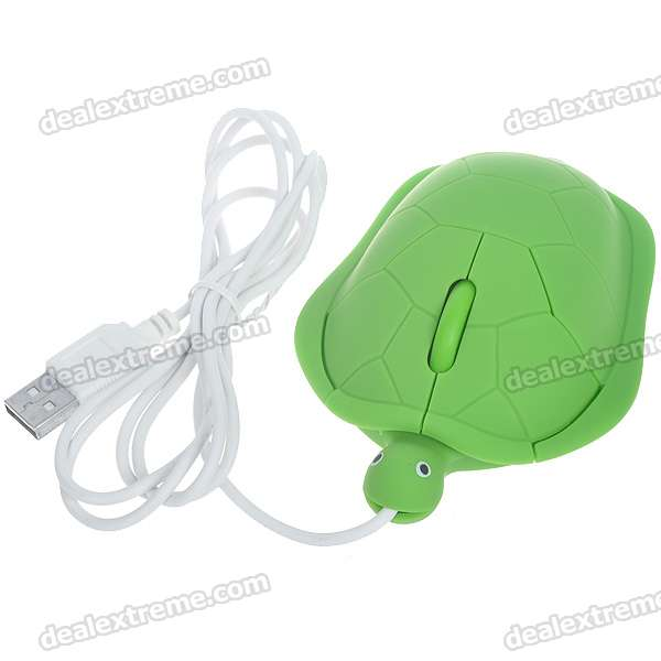 Tortoise Style 1000DPI USB Optical Mouse - Green (120CM-Cable)