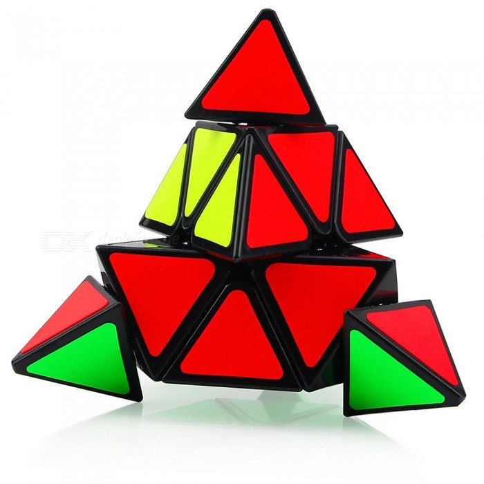 Cyclone Boys 100mm Pyraminx Smooth Speed Magic Cube Puzzle Toy for Kids - Black