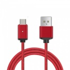 Cwxuan Micro USB Detachable Magnetic Braided Woven Charging Data Cable for Samsung / Huawei / Xiaomi - Red (1m)
