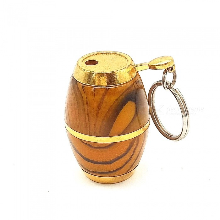Creative Barrel Shaped Gas Inflatable Flame Cigarette Lighter with Key Chain