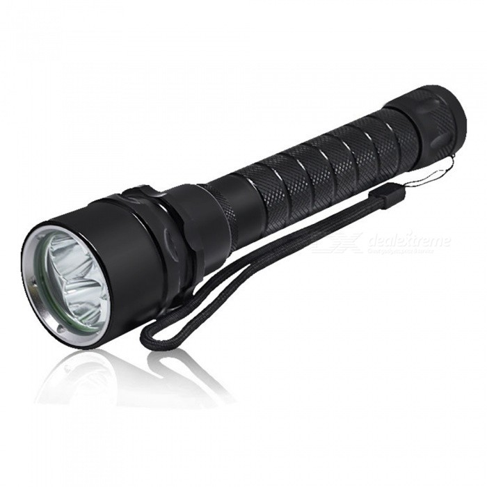 SPO T6 LED Ultrabright 3600lm Long Range Diving FlashlightDiving Flashlights<br>Form  ColorBlackModelT33Quantity1 DX.PCM.Model.AttributeModel.UnitMaterialAluminum alloyEmitter BrandCreeLED TypeXM-L2Emitter BINothers,L2Color BINWhiteNumber of Emitters3Theoretical Lumens3600 DX.PCM.Model.AttributeModel.UnitActual Lumens3600 DX.PCM.Model.AttributeModel.UnitPower Supply2*18650Working Voltage   7.2-7.4 DX.PCM.Model.AttributeModel.UnitCurrent3 DX.PCM.Model.AttributeModel.UnitRuntime12 DX.PCM.Model.AttributeModel.UnitNumber of Modes1Mode ArrangementOthers,Non-polar switchMode MemoryNoSwitch TypeOthers,pushSwitch LocationSideLens MaterialglassReflectorAluminum SmoothWorking Depth Underwater80-100 DX.PCM.Model.AttributeModel.UnitStrap/ClipStrap includedPacking List1 x Flashlight<br>