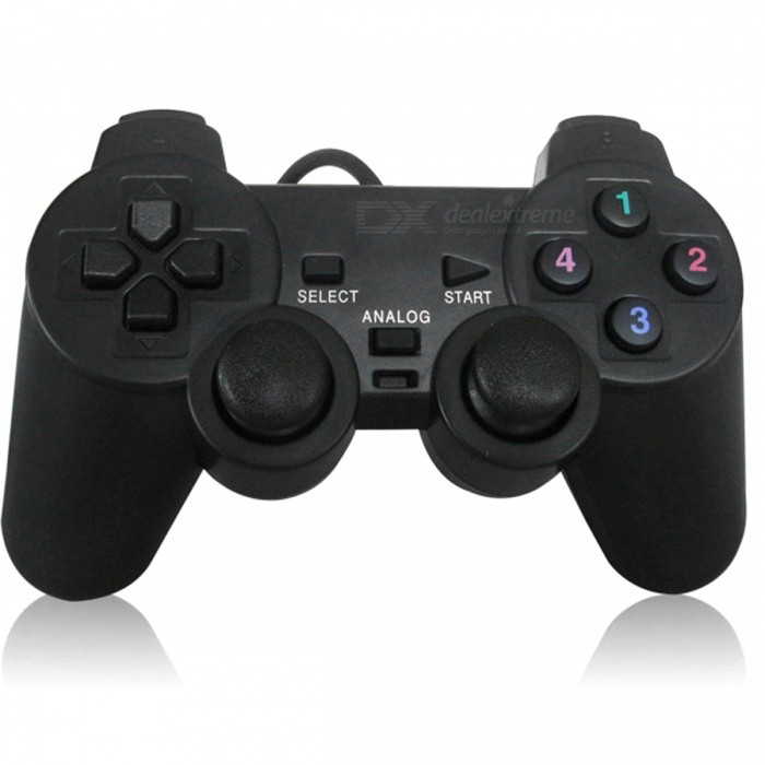 USB Wired PC Game Controller Gamepad Shock Vibration Joystick - Black
