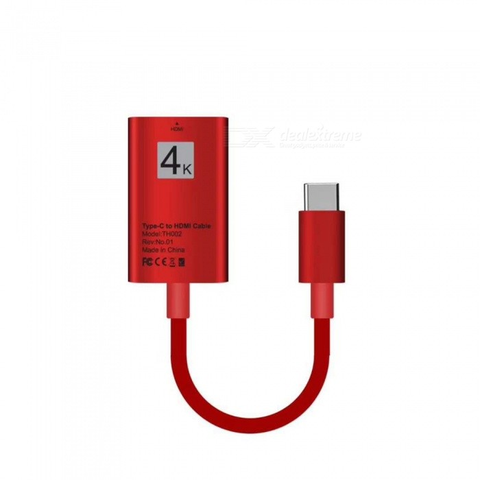USB 3.1 Type-C USB-C to HDMI 4K 30Hz HD Cable Converter - RedAV Adapters And Converters<br>Form  ColorRedMaterialABSQuantity1 DX.PCM.Model.AttributeModel.UnitShade Of ColorRedCable Length20 DX.PCM.Model.AttributeModel.UnitConnectorHDMI,Others,USB 3.1 Type-CPacking List1 x Video Cable<br>