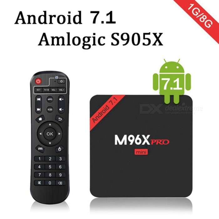 M96X PRO Mini Android 7.1 Amlogic S905X Quad-Core Smart TV Box (EU Plug)Smart TV Players<br>Form  ColorBlackBuilt-in Memory / RAM1GBStorage8GBPower AdapterEU PlugModelM96X PRO MiniQuantity1 DX.PCM.Model.AttributeModel.UnitMaterialABSShade Of ColorBlackOperating SystemOthers,Android 7.1ChipsetS905XCPUOthers,Quad-core cortex-A53Processor Frequency2.0GGPUMali-450 5-Core GPUMenu LanguageOthers,English/French/German/Spanish/Italian/ etc multilateral languagesMax Extended Capacity32GBSupports Card TypeMicroSD (TF)Wi-Fi2.4 GHzBluetooth VersionNo3G FunctionYesWireless Keyboard/Mouse2.4 GHzAudio FormatsOthers,MP3 / WMA / AAC / WAV / OGG / AC3 / DDP / TrueHD / DTS / DTS / HD / FLAC / APEVideo FormatsOthers,Avi / Rm / Rmvb / Ts / Vob / Mkv / Mov / ISO / wmv / asf / flv / dat / mpg / mpegAudio CodecsDTS,AC3,FLACVideo CodecsOthers,HD MPEG1 / 2/4H.264HD AVC / VC-1RM / RMVBXvid / DivX3 / 4/5/6RealVideo8 / 9/10VP9Picture FormatsOthers,HD JPEG / BMP / GIF / PNG / TIFFSubtitle FormatsMicroDVD [.sub],SubRip [.srt],Sub Station Alpha [.ssa],Sami [.smi]idx+subPGSOutput Resolution1080PHDMI2.0Power Supply5V 2APacking List1 x TV box 1 x User manual 1 x 5V/2A Power adapter 1 x IR Remote control1 x HDMI cable<br>