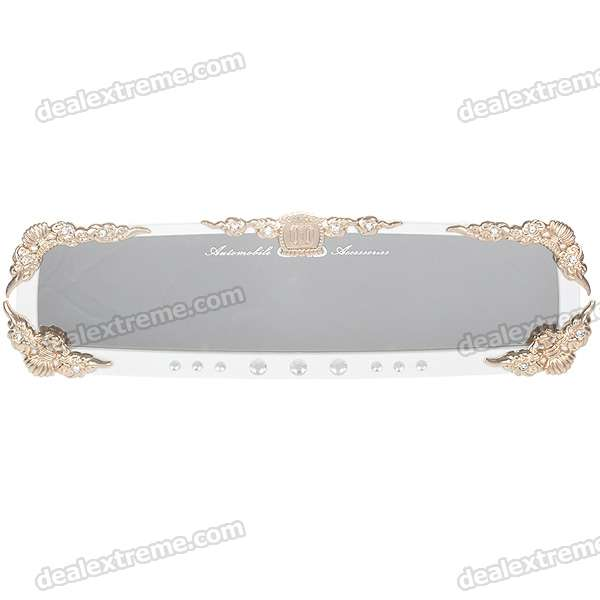 Charming Car Decoration Shinning Crystal Rearview Mirror - White