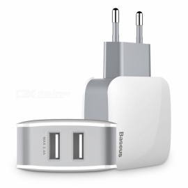 Baseus Letour 5V 2.4A Wall Charger with Dual USB for Samsung / Xiaomi / Huawei - White (EU Plug)