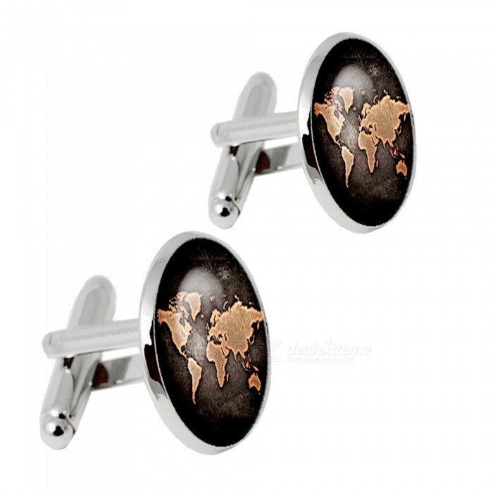 004 Alloy World Map Pattern Mens Cufflinks - Silver + Multicolor (1 Pair)Cufflinks<br>Form  ColorSilver + MulticoloredQuantity2 piecesShade Of ColorSilverMaterialAlloyPacking List2 x Cufflinks<br>