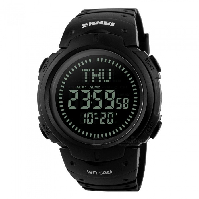 SKMEI 1231 Mens 50M Waterproof Digital Sports Compass Watch with EL Light - BlackSport Watches<br>Form  ColorBlackModel1231Quantity1 DX.PCM.Model.AttributeModel.UnitShade Of ColorBlackCasing MaterialPCWristband MaterialPUSuitable forAdultsGenderMenStyleWrist WatchTypeSports watchesDisplayDigitalBacklightGreen lightMovementDigitalDisplay Format12/24 hour time formatWater ResistantWater Resistant 5 ATM or 50 m. Suitable for swimming, white water rafting, non-snorkeling water related work, and fishing.Dial Diameter5 DX.PCM.Model.AttributeModel.UnitDial Thickness1.4 DX.PCM.Model.AttributeModel.UnitWristband Length22 DX.PCM.Model.AttributeModel.UnitBattery1 x CR2032Packing List1 x Watch<br>