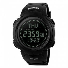 SKMEI 1231 Men's 50M Waterproof Digital Sports Compass Watch with EL Light - Black