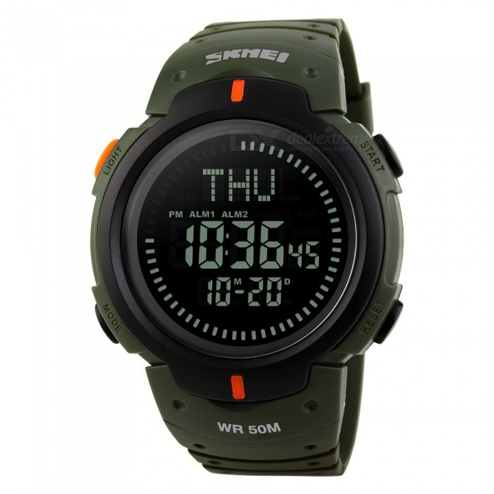 SKMEI 1231 Mens 50M Waterproof Digital Sports Compass Watch with EL Light - Army GreenSport Watches<br>Form  ColorArmy GreenModel1231Quantity1 DX.PCM.Model.AttributeModel.UnitShade Of ColorGreenCasing MaterialPCWristband MaterialPUSuitable forAdultsGenderMenStyleWrist WatchTypeSports watchesDisplayDigitalBacklightGreen lightMovementDigitalDisplay Format12/24 hour time formatWater ResistantWater Resistant 5 ATM or 50 m. Suitable for swimming, white water rafting, non-snorkeling water related work, and fishing.Dial Diameter5 DX.PCM.Model.AttributeModel.UnitDial Thickness1.4 DX.PCM.Model.AttributeModel.UnitWristband Length22 DX.PCM.Model.AttributeModel.UnitBattery1 x CR2032Packing List1 x Watch<br>