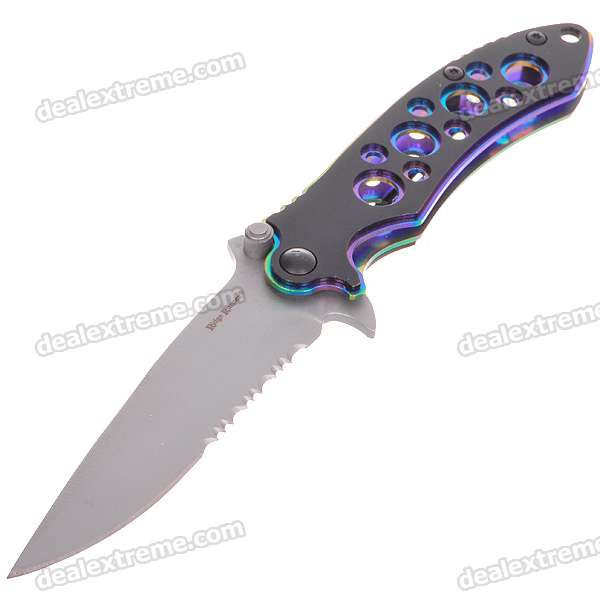 Stainless Steel Manual-Release Folding Pocket Knife with Clip (16cm Full-Length)