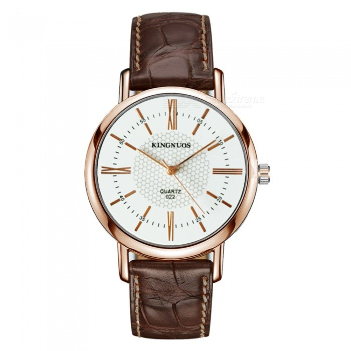 KINGNUOS Stylish PU Leather Band Roman Numerals Quartz Watch - Rose Gold + Brown + White