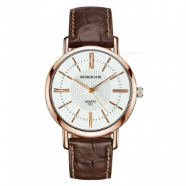 KINGNUOS Stylish PU Leather Band Roman Numerals Quartz Watch - Rose Gold + Brown + Black