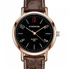 KINGNUOS Stylish PU Leather Band Arabic Numerals Quartz Watch - Brown + Gold + Black