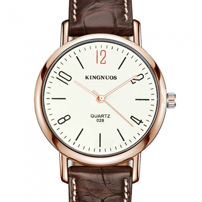 Kingnuos stylish pu leather band arabic numerals quartz watch brown gold white free for Kingnuos watch