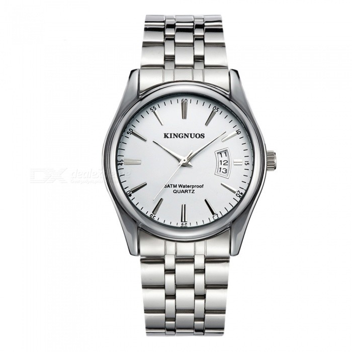 KINGNUOS Mens Alloy Steel Band Quartz Wrist Watch with Calendar - Silver + WhiteQuartz Watches<br>Form  ColorSilver + WhiteQuantity1 DX.PCM.Model.AttributeModel.UnitShade Of ColorSilverCasing MaterialAlloy SteelWristband MaterialAlloy SteelSuitable forAdultsGenderMenStyleWrist WatchTypeFashion watchesDisplayAnalogBacklightNoMovementQuartzDisplay Format12 hour formatWater ResistantWater Resistant 3 ATM or 30 m. Suitable for everyday use. Splash/rain resistant. Not suitable for showering, bathing, swimming, snorkelling, water related work and fishing.Dial Diameter4 DX.PCM.Model.AttributeModel.UnitDial Thickness0.9 DX.PCM.Model.AttributeModel.UnitWristband Length24 DX.PCM.Model.AttributeModel.UnitBand Width2 DX.PCM.Model.AttributeModel.UnitBattery1 x SR626Packing List1 x Wrist watch<br>
