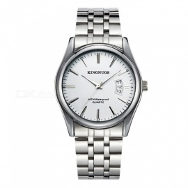KINGNUOS Men's Alloy Steel Band Quartz Wrist Watch with Calendar - Silver + White