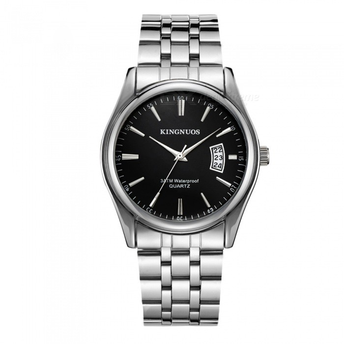 KINGNUOS Mens Alloy Steel Band Quartz Wrist Watch with Calendar - Silver + BlackQuartz Watches<br>Form  ColorSilver + BlackQuantity1 pieceShade Of ColorSilverCasing MaterialAlloy SteelWristband MaterialAlloy SteelSuitable forAdultsGenderMenStyleWrist WatchTypeFashion watchesDisplayAnalogBacklightNoMovementQuartzDisplay Format12 hour formatWater ResistantWater Resistant 3 ATM or 30 m. Suitable for everyday use. Splash/rain resistant. Not suitable for showering, bathing, swimming, snorkelling, water related work and fishing.Dial Diameter4 cmDial Thickness0.9 cmWristband Length24 cmBand Width2 cmBattery1 x SR626Packing List1 x Wrist watch<br>