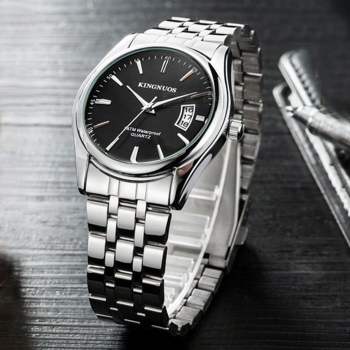 Kingnuos men 39 s alloy steel band quartz wrist watch with calendar silver black free for Kingnuos watch