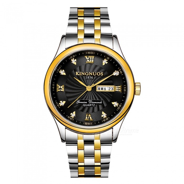 KINGNUOS Mens Stainless Steel Quartz Wrist Watch with Calendar / Week Display - Silver + Golden + BlackQuartz Watches<br>Form  ColorSilver + Golden + BlackQuantity1 pieceShade Of ColorSilverCasing MaterialStainless steelWristband MaterialStainless steelSuitable forAdultsGenderMenStyleWrist WatchTypeFashion watchesDisplayAnalogBacklightNoMovementQuartzDisplay Format12 hour formatWater ResistantWater Resistant 3 ATM or 30 m. Suitable for everyday use. Splash/rain resistant. Not suitable for showering, bathing, swimming, snorkelling, water related work and fishing.Dial Diameter4 cmDial Thickness0.9 cmWristband Length24 cmBand Width2.1 cmBattery1 x SR626Packing List1 x Wrist watch<br>