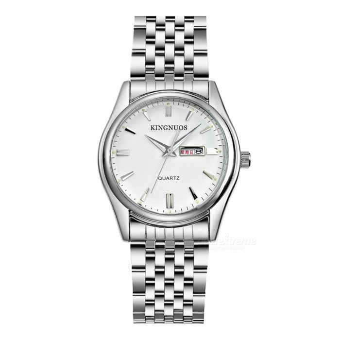 Kingnuos fine steel quartz watch with calendar week function silver white free shipping for Kingnuos watch