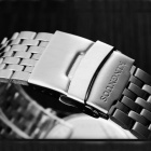 KINGNUOS Fine Steel Double Calendar Luminous Watch - Silver + Black