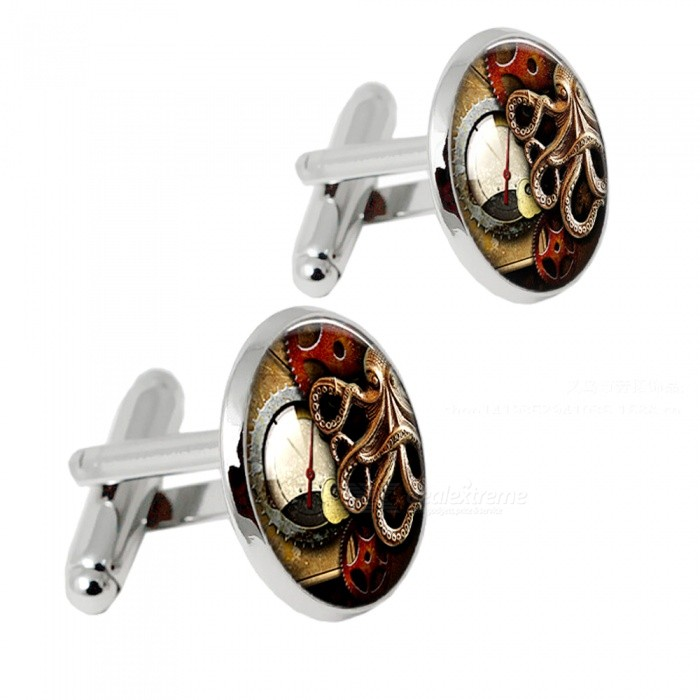 002 Alloy Clock Pattern Mens Cufflinks - Silver + Multicolor (1 Pair)Cufflinks<br>Form  ColorSilver + MulticoloredQuantity2 piecesShade Of ColorSilverMaterialAlloyPacking List2 x Cufflinks<br>
