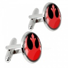 Alloy Spear Pattern Men's Cufflinks - Silver + Red (1 Pair)