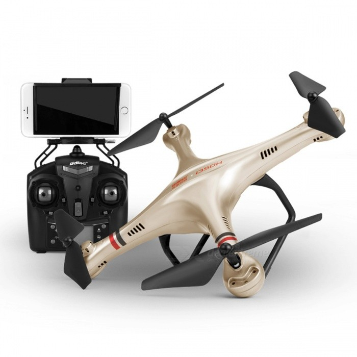 UDIR/C i350HW Explorer Quadcopter Four Axis Aircraft with Wi-Fi / Real-time Image Transmission - GoldR/C Airplanes&amp;Quadcopters<br>Form  ColorGolden + BlackModeli350HWMaterialElectronic Components + PlasticQuantity1 DX.PCM.Model.AttributeModel.UnitShade Of ColorGoldGyroscopeYesChannels Quanlity4 DX.PCM.Model.AttributeModel.UnitFunctionUp,Down,Left,Right,Forward,Backward,Hovering,Sideward flightRemote TypeRadio ControlRemote control frequency2.4GHzRemote Control Range100 DX.PCM.Model.AttributeModel.UnitSuitable Age 8-11 years,12-15 years,Grown upsCameraYesCamera Pixel0.3MPLamp YesBattery TypeLi-polymer batteryBattery Capacity500 DX.PCM.Model.AttributeModel.UnitCharging Time45 DX.PCM.Model.AttributeModel.UnitWorking Time8 DX.PCM.Model.AttributeModel.UnitRemote Controller Battery TypeAARemote Controller Battery Number4Remote Control TypeOthers,2.4GModelMode 2 (Left Throttle Hand)Packing List1 x Aerocraft1 x Remote control2 x Tripods4 x Protective rings1 x Screwdriver1 x USB charging adapter4 x Propellers1 x Instruction1 x Set of Accessories<br>