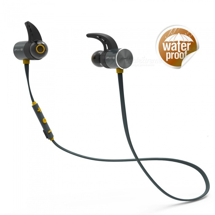 PLEXTONE Bluetooth V4.1 Sports Earphone IPX5 Waterproof Dual Batteries 8 Hour Play with Mic - Dark Grey + YellowHeadphones<br>Form  ColorDeep Grey + OrangeBrandOthers,PLEXTONEModelBX343MaterialPC+TPEQuantity1 pieceConnectionBluetoothBluetooth VersionBluetooth V4.1Bluetooth ChipCSR8635Operating Range10MConnects Two Phones SimultaneouslyYesCable Length60 cmLeft &amp; Right Calbes TypeEqual LengthHeadphone StyleUnilateral,Earbud,In-EarWaterproof LevelIPX5Applicable ProductsUniversal,IPHONE 7,IPHONE 7 PLUSHeadphone FeaturesHiFi,Long Time Standby,Magnetic Adsorption,Noise-Canceling,Volume Control,With Microphone,Lightweight,For Sports &amp; ExerciseRadio TunerNoSupport Memory CardNoSupport Apt-XNoChannels2.0SNR98dBSensitivity108±3dBTHDFrequency Response20-20000HzImpedance32 ohmDriver Unit12mm x 2pcsBattery TypeLi-polymer batteryBuilt-in Battery Capacity 110 mAhStandby Time10 daysTalk Time8 hourMusic Play Time8 hourPower AdapterUSBPower Supply5V 1ACertificationCEPacking List1 x Bluetooth Earphone1 x USB Charging Cable3 x Sets of Ear Tips - Small, Medium, Large1 x Cable Management Clip1 x User Manual<br>