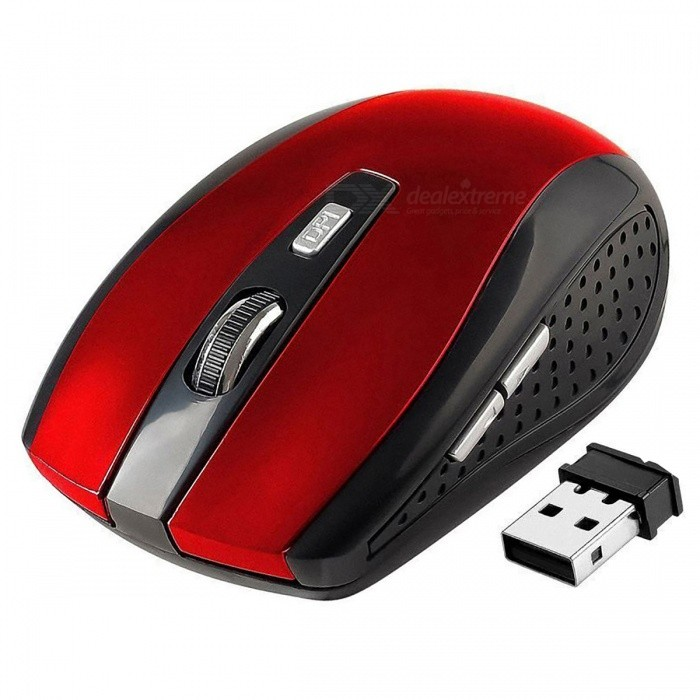 Centechia 2.4GHz Wireless Optical Mouse with USB 2.0 Receiver for PC Laptop - Black + RedWireless Mouse<br>Form  ColorBlack RedQuantity1 piecesMaterialABSShade Of ColorBlackInterfaceUSB 2.0Wireless or Wired2.4G WirelessOptical TypeLEDResolution800/1600DPIPowered ByAAA BatteryBattery included or notNoBattery Number2Supports SystemWin xp,Win7 32,Win7 64,Win8 32,Win8 64,Others,Win10TypeErgonomicPacking List1 x Mouse 1 x Receiver<br>